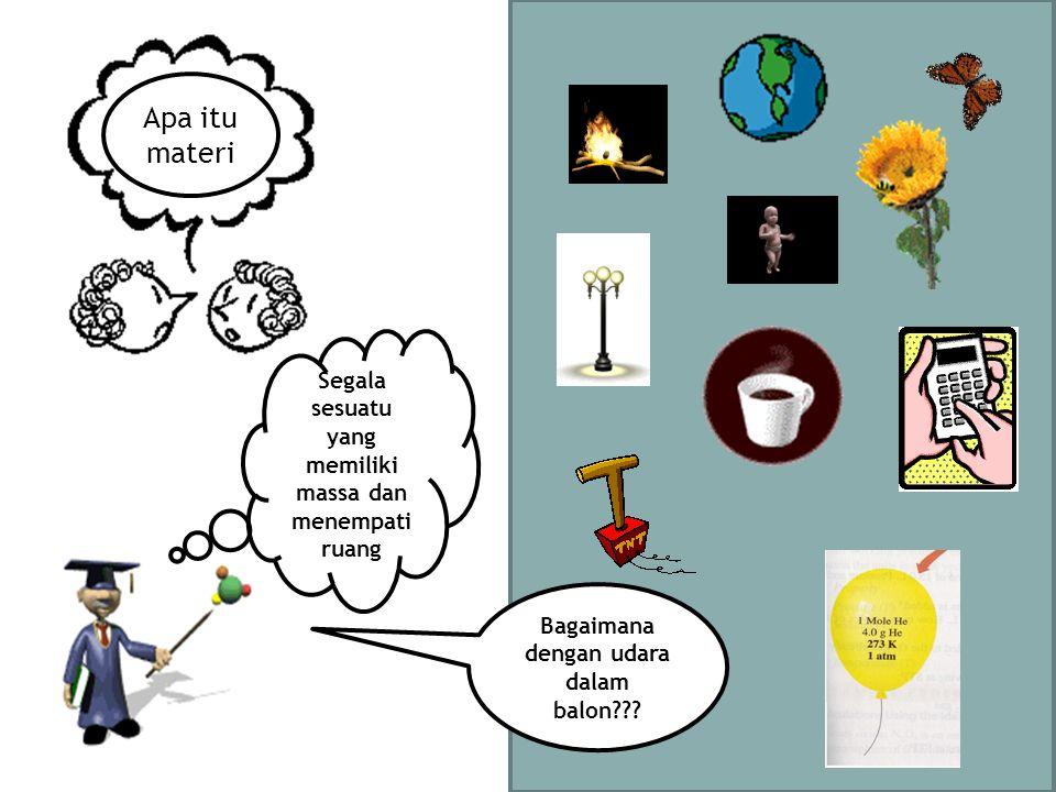 Apa itu materi Segala sesuatu yang memiliki massa dan menempati ruang Bagaimana dengan udara dalam balon???