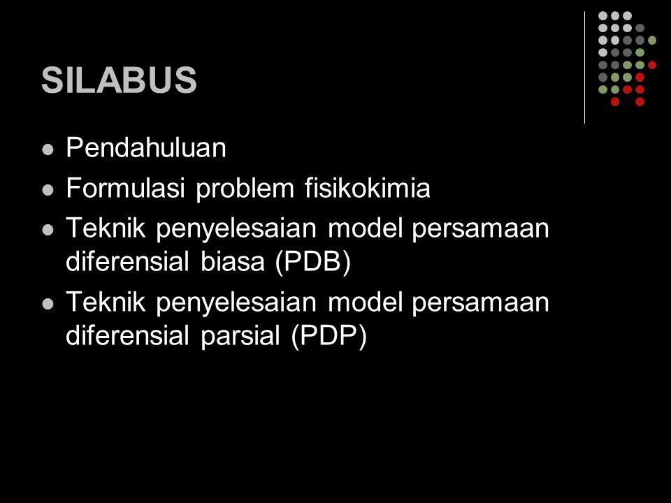 SILABUS Pendahuluan Formulasi problem fisikokimia Teknik penyelesaian model persamaan diferensial biasa (PDB) Teknik penyelesaian model persamaan dife