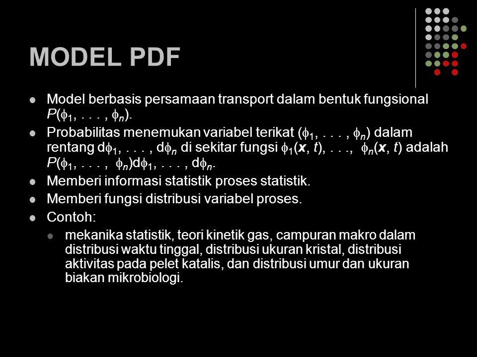 MODEL PDF Model berbasis persamaan transport dalam bentuk fungsional P(  1,...,  n ). Probabilitas menemukan variabel terikat (  1,...,  n ) dalam