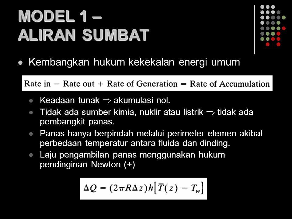 MODEL 1 – ALIRAN SUMBAT Kembangkan hukum kekekalan energi umum Keadaan tunak  akumulasi nol. Tidak ada sumber kimia, nuklir atau listrik  tidak ada