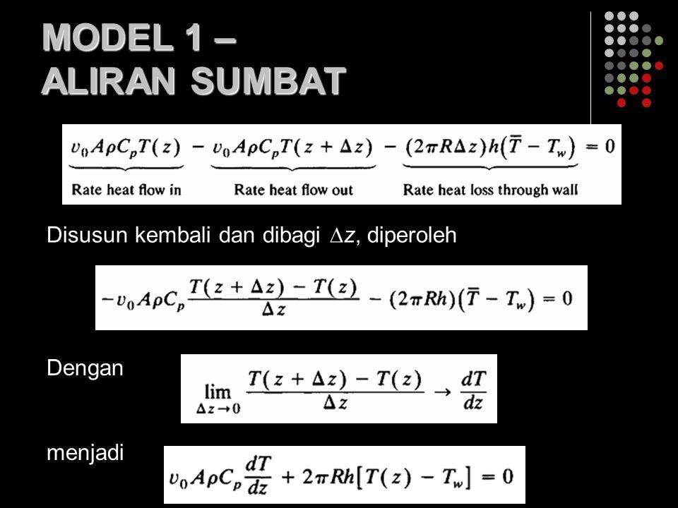 MODEL 1 – ALIRAN SUMBAT Disusun kembali dan dibagi  z, diperoleh Dengan menjadi