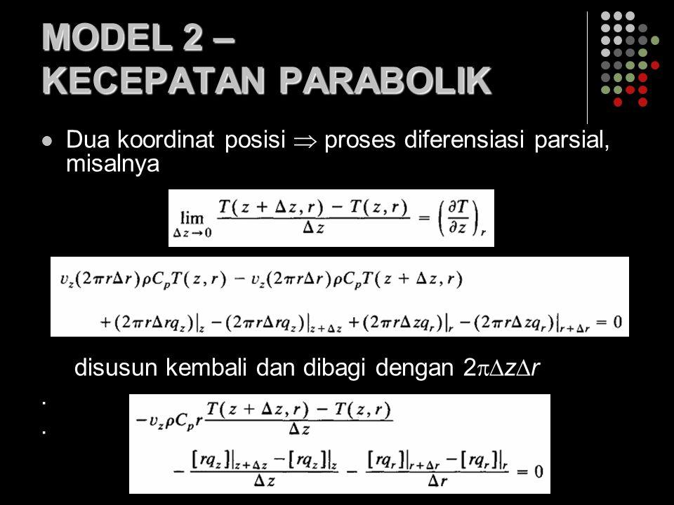 MODEL 2 – KECEPATAN PARABOLIK Dua koordinat posisi  proses diferensiasi parsial, misalnya disusun kembali dan dibagi dengan 2  z  r.