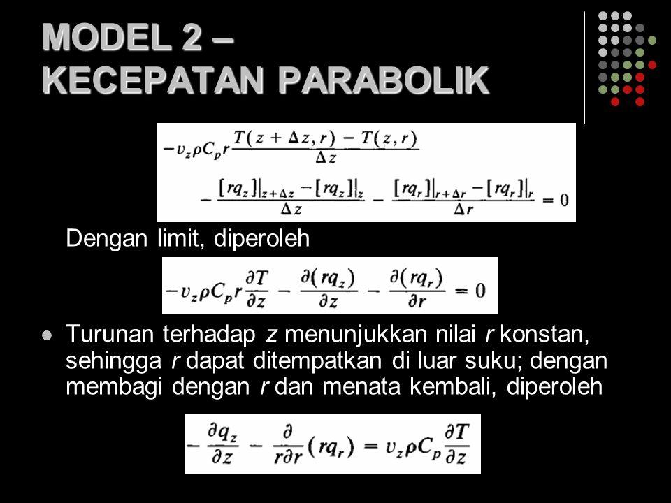 MODEL 2 – KECEPATAN PARABOLIK Dengan limit, diperoleh Turunan terhadap z menunjukkan nilai r konstan, sehingga r dapat ditempatkan di luar suku; dengan membagi dengan r dan menata kembali, diperoleh