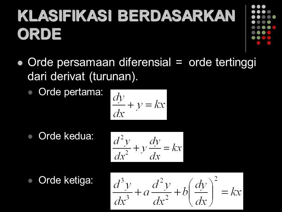 KLASIFIKASI BERDASARKAN ORDE Orde persamaan diferensial = orde tertinggi dari derivat (turunan). Orde pertama: Orde kedua: Orde ketiga: