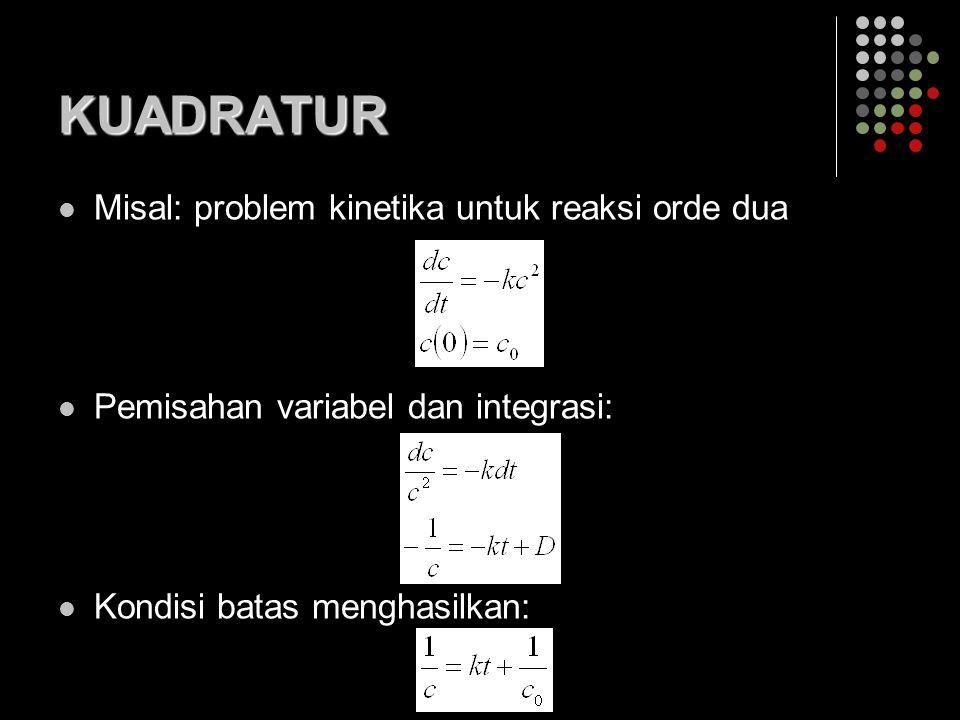 KUADRATUR Misal: problem kinetika untuk reaksi orde dua Pemisahan variabel dan integrasi: Kondisi batas menghasilkan: