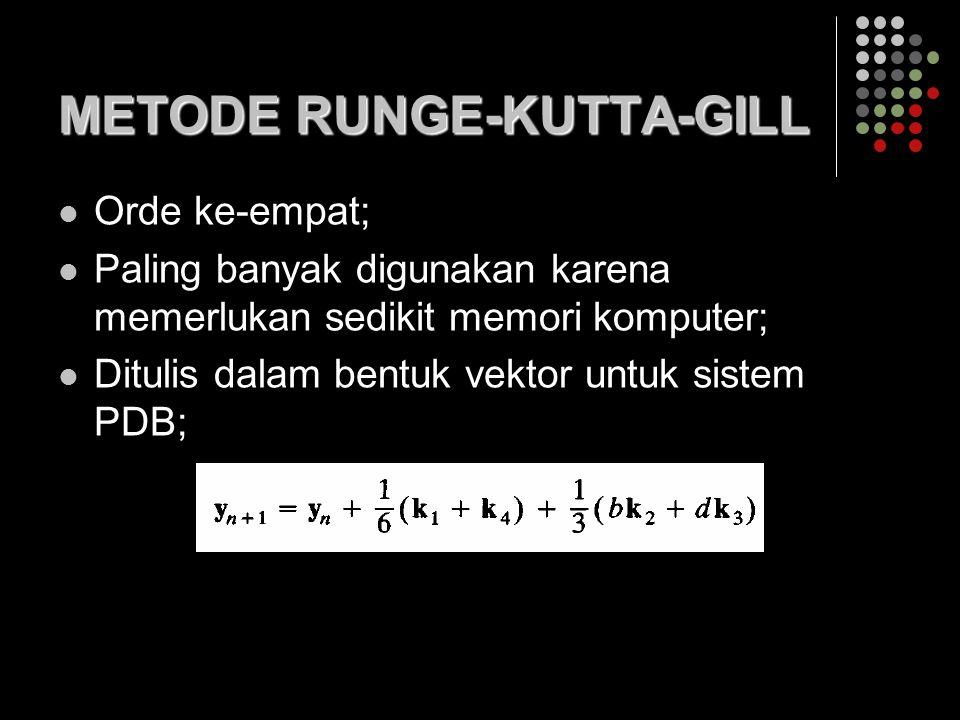 METODE RUNGE-KUTTA-GILL Orde ke-empat; Paling banyak digunakan karena memerlukan sedikit memori komputer; Ditulis dalam bentuk vektor untuk sistem PDB;