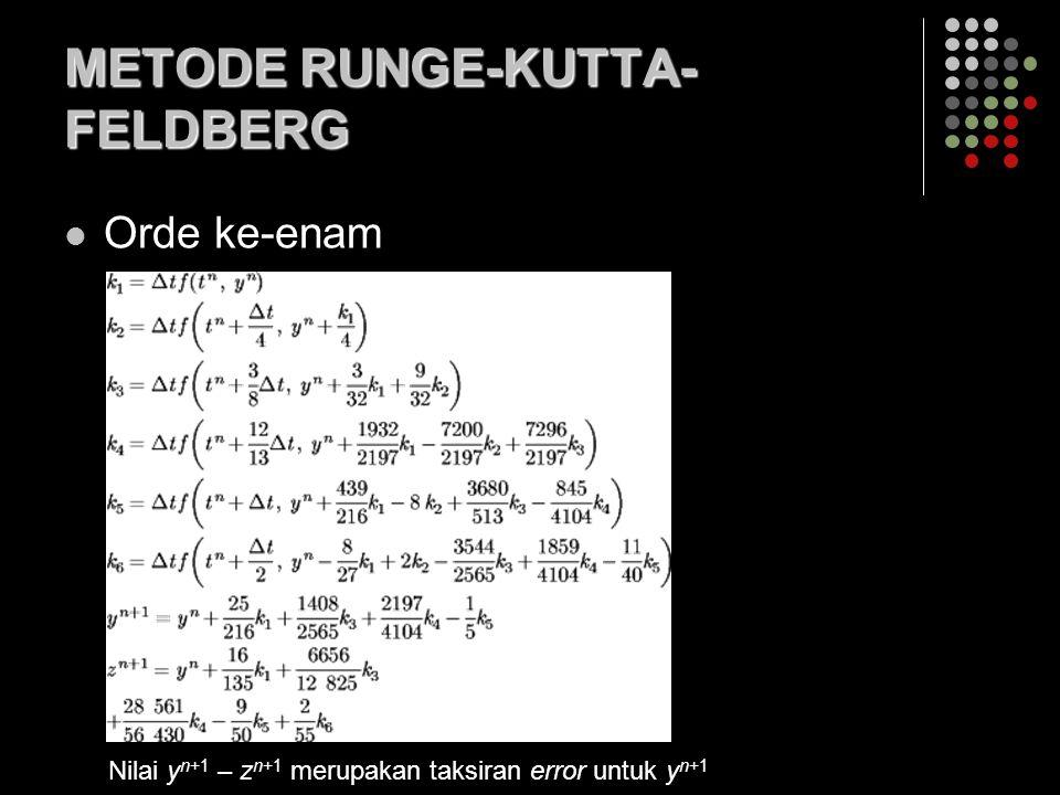 METODE RUNGE-KUTTA- FELDBERG Orde ke-enam Nilai y n+1 – z n+1 merupakan taksiran error untuk y n+1