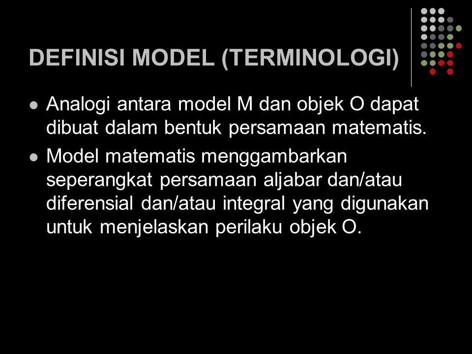 DEFINISI MODEL (TERMINOLOGI) Analogi antara model M dan objek O dapat dibuat dalam bentuk persamaan matematis. Model matematis menggambarkan seperangk
