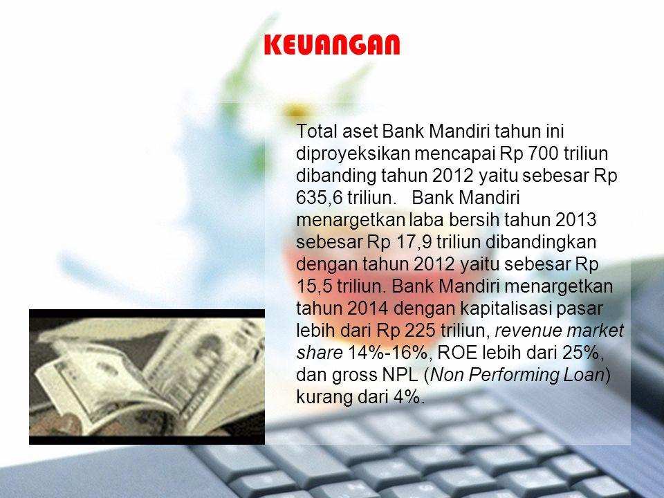 KEUANGAN Total aset Bank Mandiri tahun ini diproyeksikan mencapai Rp 700 triliun dibanding tahun 2012 yaitu sebesar Rp 635,6 triliun. Bank Mandiri men