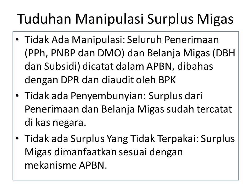 Tuduhan Manipulasi Surplus Migas Tidak Ada Manipulasi: Seluruh Penerimaan (PPh, PNBP dan DMO) dan Belanja Migas (DBH dan Subsidi) dicatat dalam APBN, dibahas dengan DPR dan diaudit oleh BPK Tidak ada Penyembunyian: Surplus dari Penerimaan dan Belanja Migas sudah tercatat di kas negara.