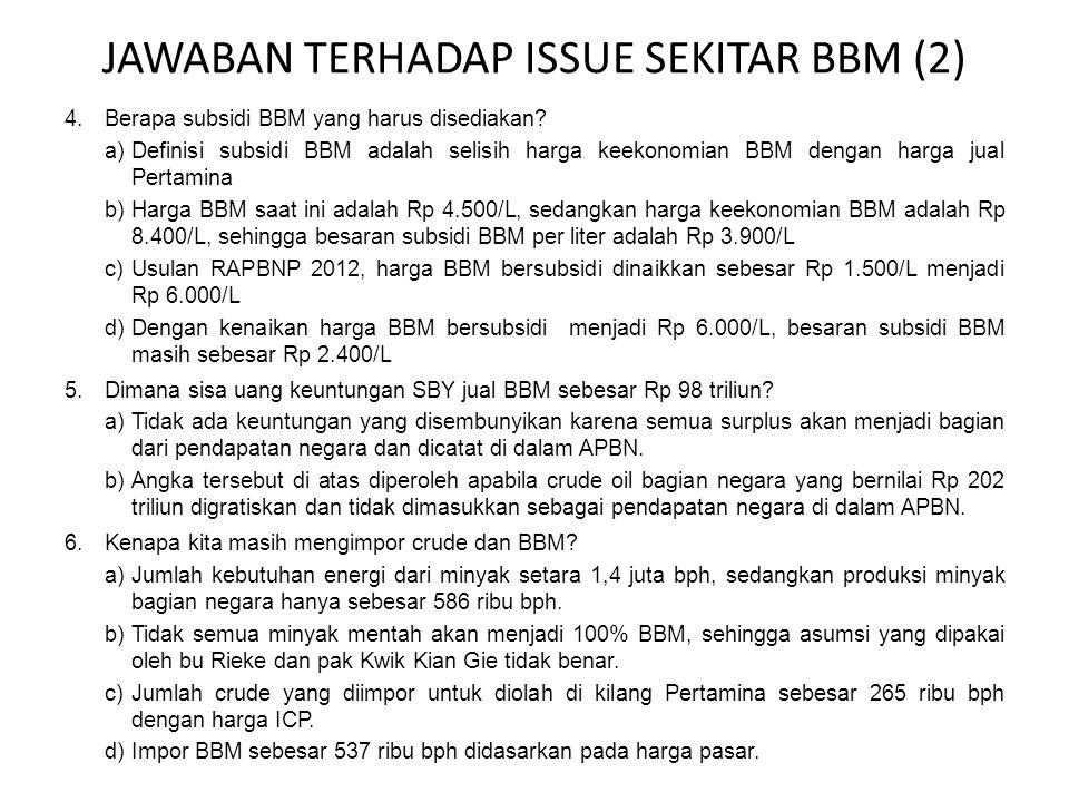 JAWABAN TERHADAP ISSUE SEKITAR BBM (2) 4.Berapa subsidi BBM yang harus disediakan.