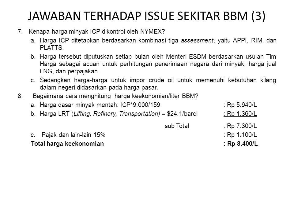 JAWABAN TERHADAP ISSUE SEKITAR BBM (3) 7.Kenapa harga minyak ICP dikontrol oleh NYMEX.
