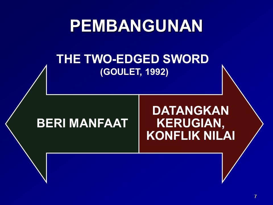 PEMBANGUNAN BERI MANFAAT DATANGKAN KERUGIAN, KONFLIK NILAI 7 THE TWO-EDGED SWORD (GOULET, 1992)