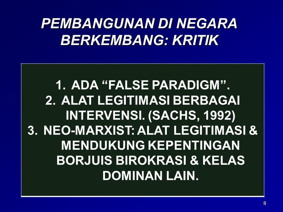 "8 PEMBANGUNAN DI NEGARA BERKEMBANG: KRITIK 1.ADA ""FALSE PARADIGM"". 2.ALAT LEGITIMASI BERBAGAI INTERVENSI. (SACHS, 1992) 3.NEO-MARXIST: ALAT LEGITIMASI"