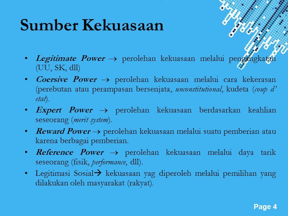 Powerpoint Templates Page 4 Sumber Kekuasaan Legitimate Power  perolehan kekuasaan melalui pengangkatan (UU, SK, dll) Coersive Power  perolehan kekuasaan melalui cara kekerasan (perebutan atau perampasan bersenjata, unconstitutional, kudeta (coup d' etat).