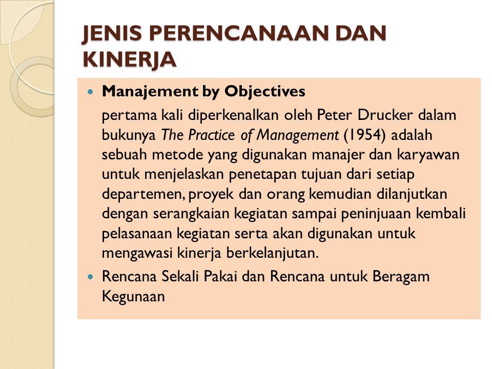 JENIS PERENCANAAN DAN KINERJA Manajement by Objectives pertama kali diperkenalkan oleh Peter Drucker dalam bukunya The Practice of Management (1954) a