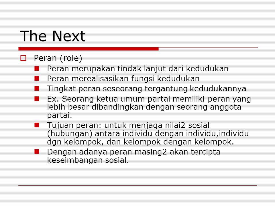 The Next  Peran (role) Peran merupakan tindak lanjut dari kedudukan Peran merealisasikan fungsi kedudukan Tingkat peran seseorang tergantung keduduka