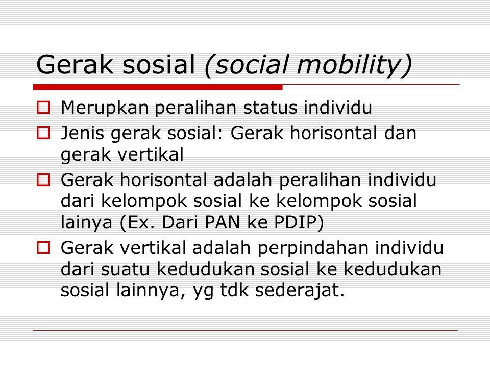Gerak sosial (social mobility)  Merupkan peralihan status individu  Jenis gerak sosial: Gerak horisontal dan gerak vertikal  Gerak horisontal adala