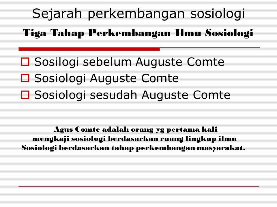 Sejarah perkembangan sosiologi  Sosilogi sebelum Auguste Comte  Sosiologi Auguste Comte  Sosiologi sesudah Auguste Comte Tiga Tahap Perkembangan Il