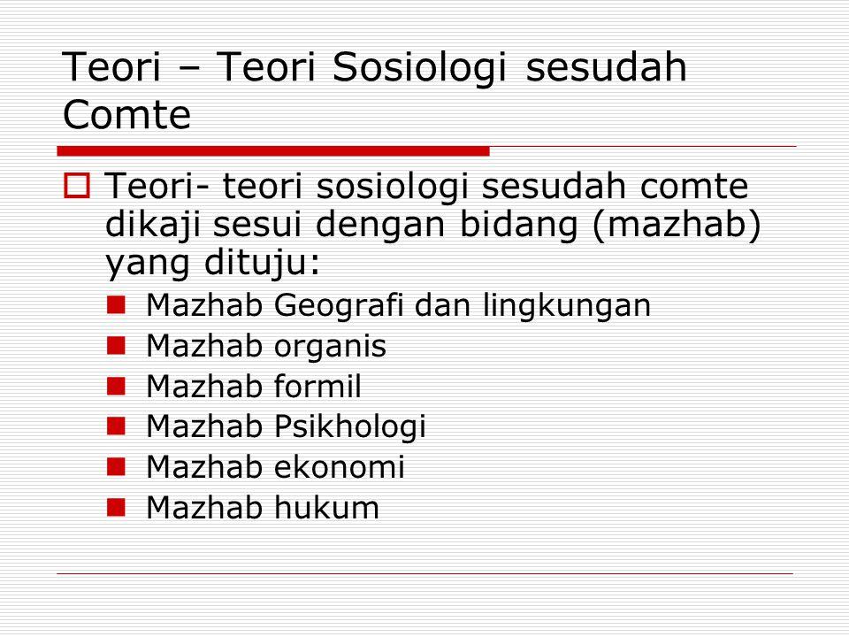 Teori – Teori Sosiologi sesudah Comte  Teori- teori sosiologi sesudah comte dikaji sesui dengan bidang (mazhab) yang dituju: Mazhab Geografi dan ling