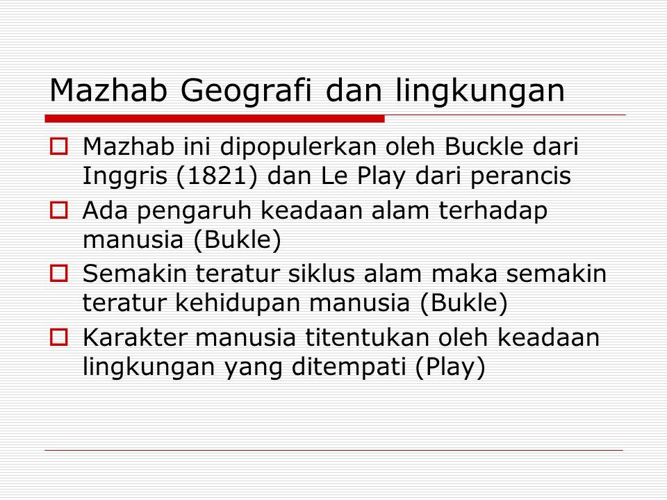 Mazhab Geografi dan lingkungan  Mazhab ini dipopulerkan oleh Buckle dari Inggris (1821) dan Le Play dari perancis  Ada pengaruh keadaan alam terhada