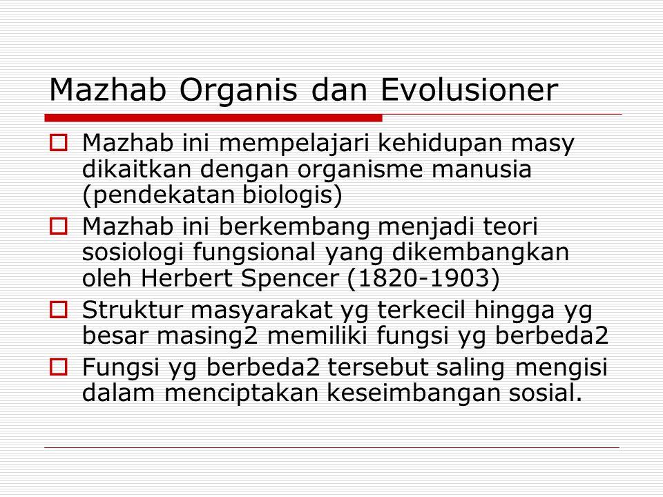 Mazhab Organis dan Evolusioner  Mazhab ini mempelajari kehidupan masy dikaitkan dengan organisme manusia (pendekatan biologis)  Mazhab ini berkemban