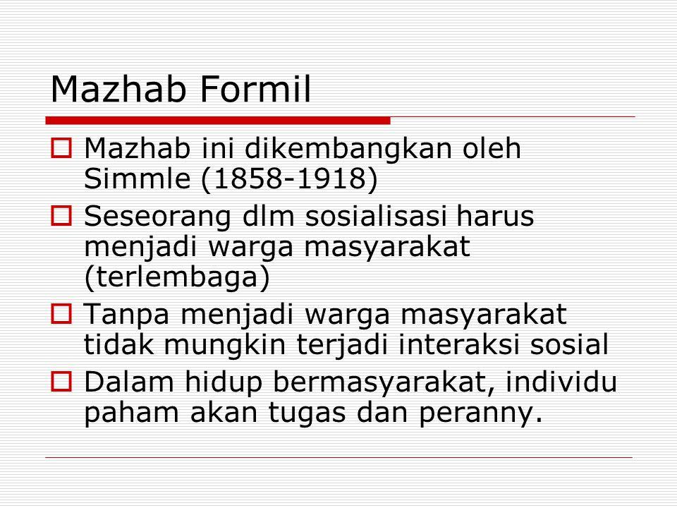 Mazhab Formil  Mazhab ini dikembangkan oleh Simmle (1858-1918)  Seseorang dlm sosialisasi harus menjadi warga masyarakat (terlembaga)  Tanpa menjad