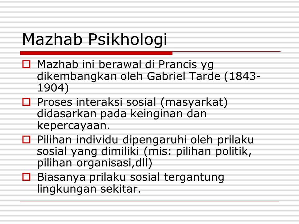 Mazhab Psikhologi  Mazhab ini berawal di Prancis yg dikembangkan oleh Gabriel Tarde (1843- 1904)  Proses interaksi sosial (masyarkat) didasarkan pad