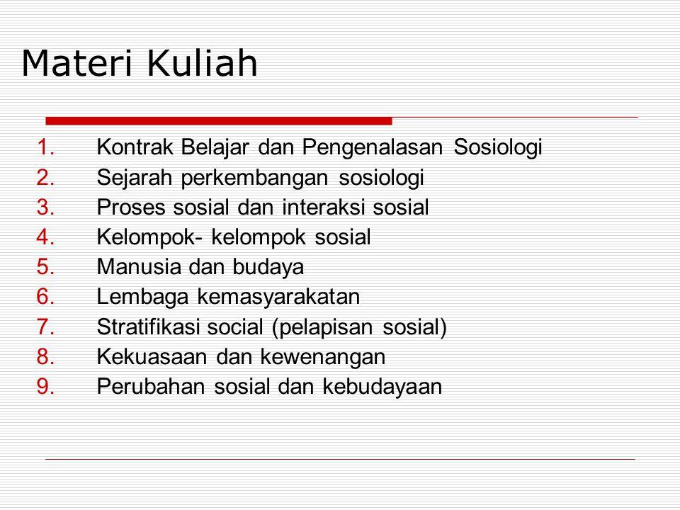 Materi Kuliah 1.Kontrak Belajar dan Pengenalasan Sosiologi 2.Sejarah perkembangan sosiologi 3.Proses sosial dan interaksi sosial 4.Kelompok- kelompok