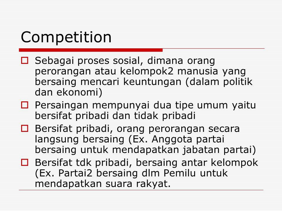 Competition  Sebagai proses sosial, dimana orang perorangan atau kelompok2 manusia yang bersaing mencari keuntungan (dalam politik dan ekonomi)  Per