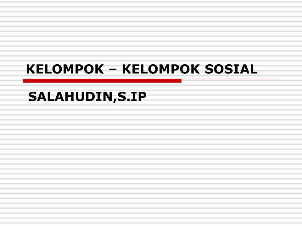 KELOMPOK – KELOMPOK SOSIAL SALAHUDIN,S.IP