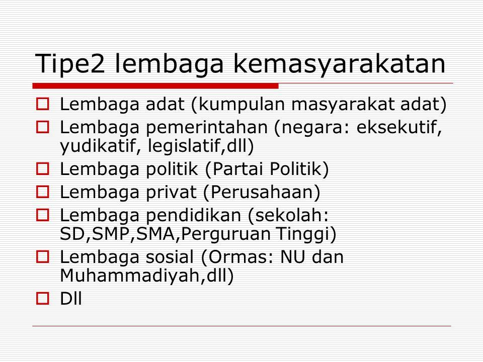 Tipe2 lembaga kemasyarakatan  Lembaga adat (kumpulan masyarakat adat)  Lembaga pemerintahan (negara: eksekutif, yudikatif, legislatif,dll)  Lembaga