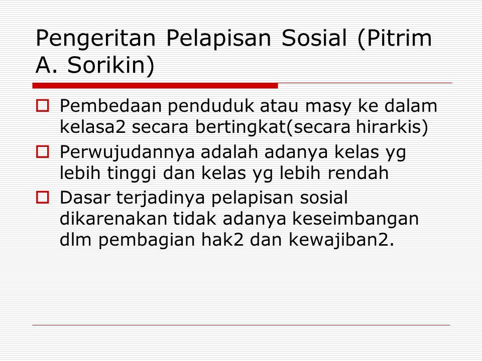 Pengeritan Pelapisan Sosial (Pitrim A. Sorikin)  Pembedaan penduduk atau masy ke dalam kelasa2 secara bertingkat(secara hirarkis)  Perwujudannya ada