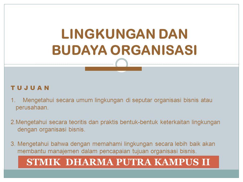 LINGKUNGAN DAN BUDAYA ORGANISASI 1.Mengetahui secara umum lingkungan di seputar organisasi bisnis atau perusahaan. 2.Mengetahui secara teoritis dan pr
