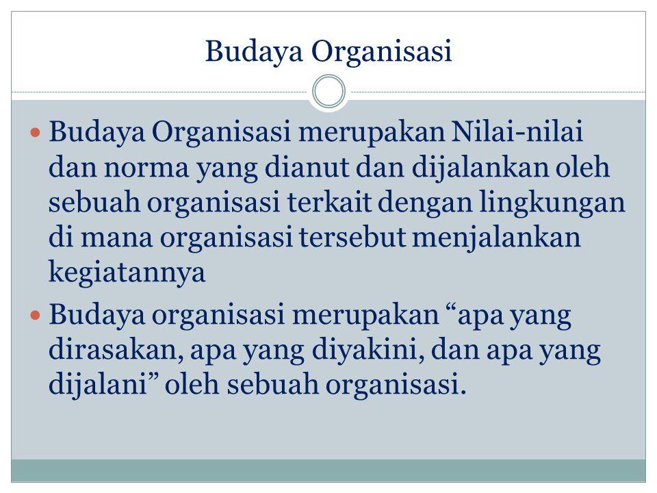 Budaya Organisasi Budaya Organisasi merupakan Nilai-nilai dan norma yang dianut dan dijalankan oleh sebuah organisasi terkait dengan lingkungan di mana organisasi tersebut menjalankan kegiatannya Budaya organisasi merupakan apa yang dirasakan, apa yang diyakini, dan apa yang dijalani oleh sebuah organisasi.