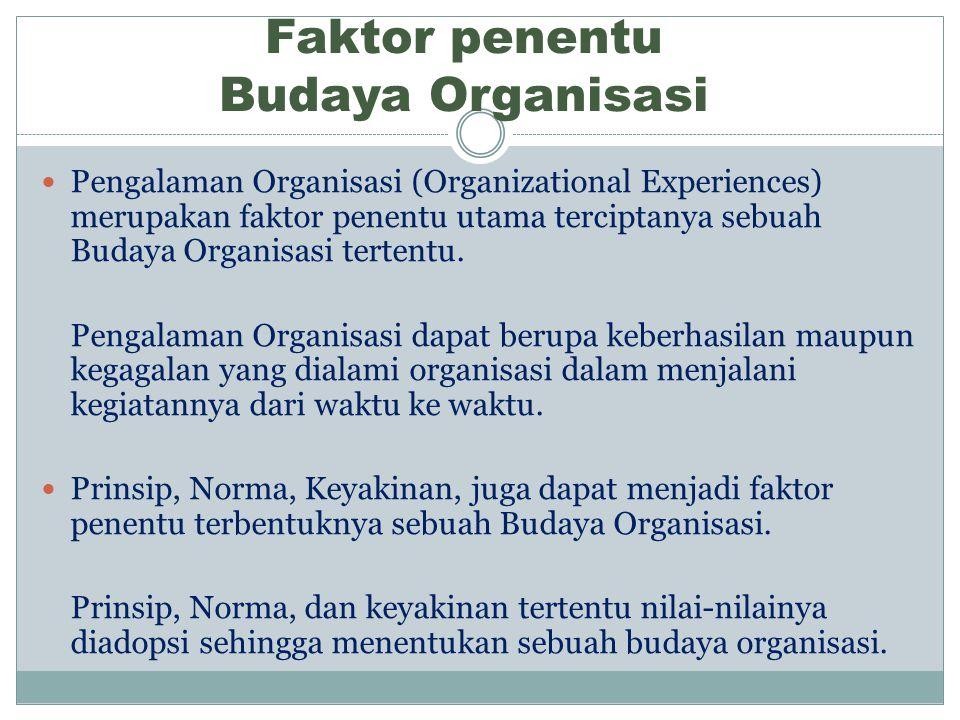 Faktor penentu Budaya Organisasi Pengalaman Organisasi (Organizational Experiences) merupakan faktor penentu utama terciptanya sebuah Budaya Organisasi tertentu.
