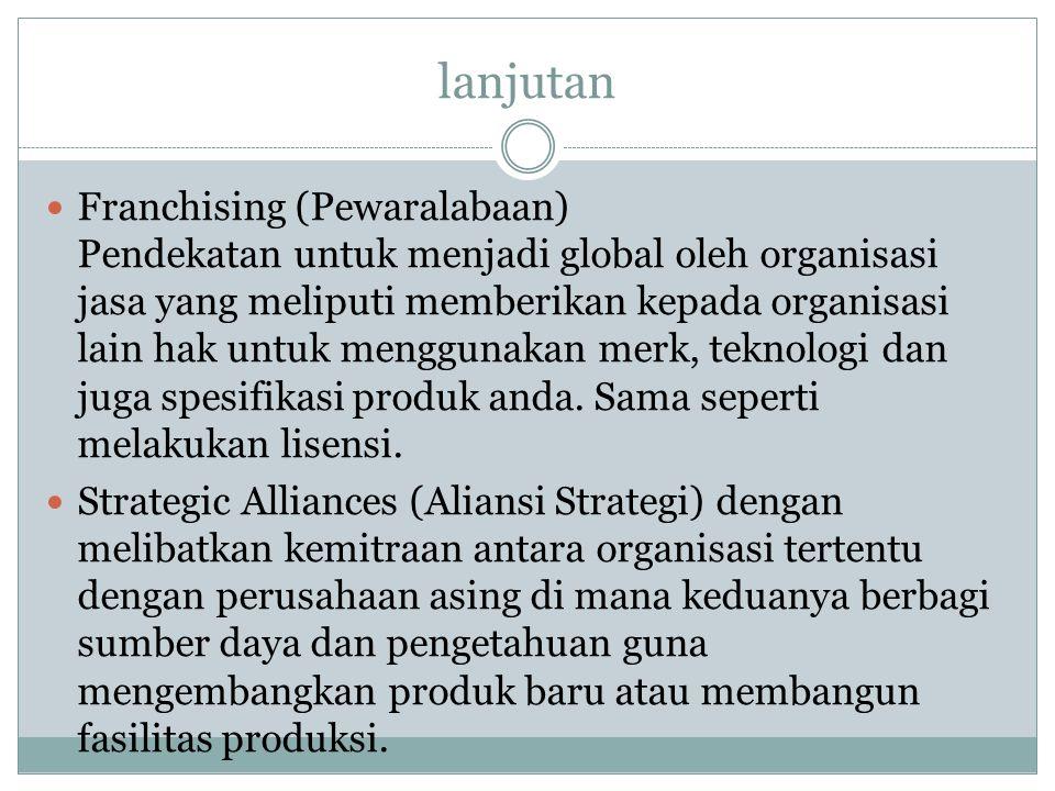 lanjutan Franchising (Pewaralabaan) Pendekatan untuk menjadi global oleh organisasi jasa yang meliputi memberikan kepada organisasi lain hak untuk men