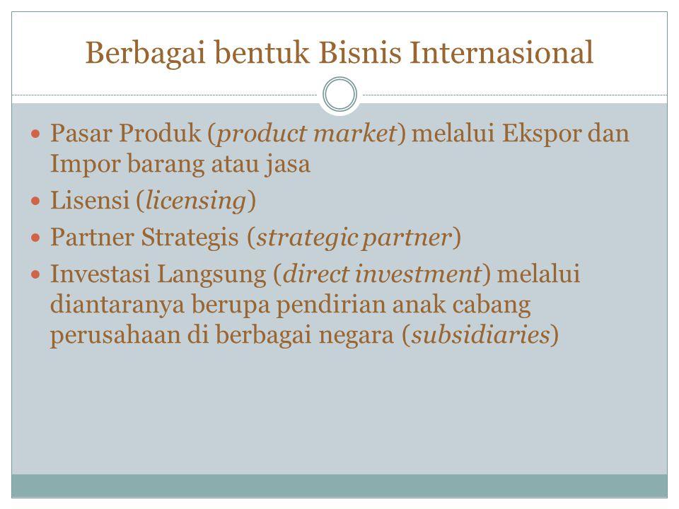 Berbagai bentuk Bisnis Internasional Pasar Produk (product market) melalui Ekspor dan Impor barang atau jasa Lisensi (licensing) Partner Strategis (st