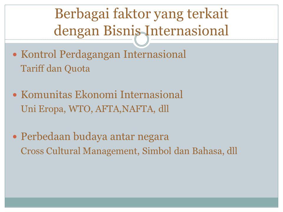 Berbagai faktor yang terkait dengan Bisnis Internasional Kontrol Perdagangan Internasional Tariff dan Quota Komunitas Ekonomi Internasional Uni Eropa, WTO, AFTA,NAFTA, dll Perbedaan budaya antar negara Cross Cultural Management, Simbol dan Bahasa, dll