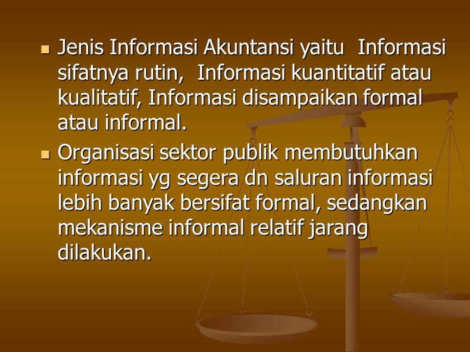 Jenis Informasi Akuntansi yaitu Informasi sifatnya rutin, Informasi kuantitatif atau kualitatif, Informasi disampaikan formal atau informal. Jenis Inf