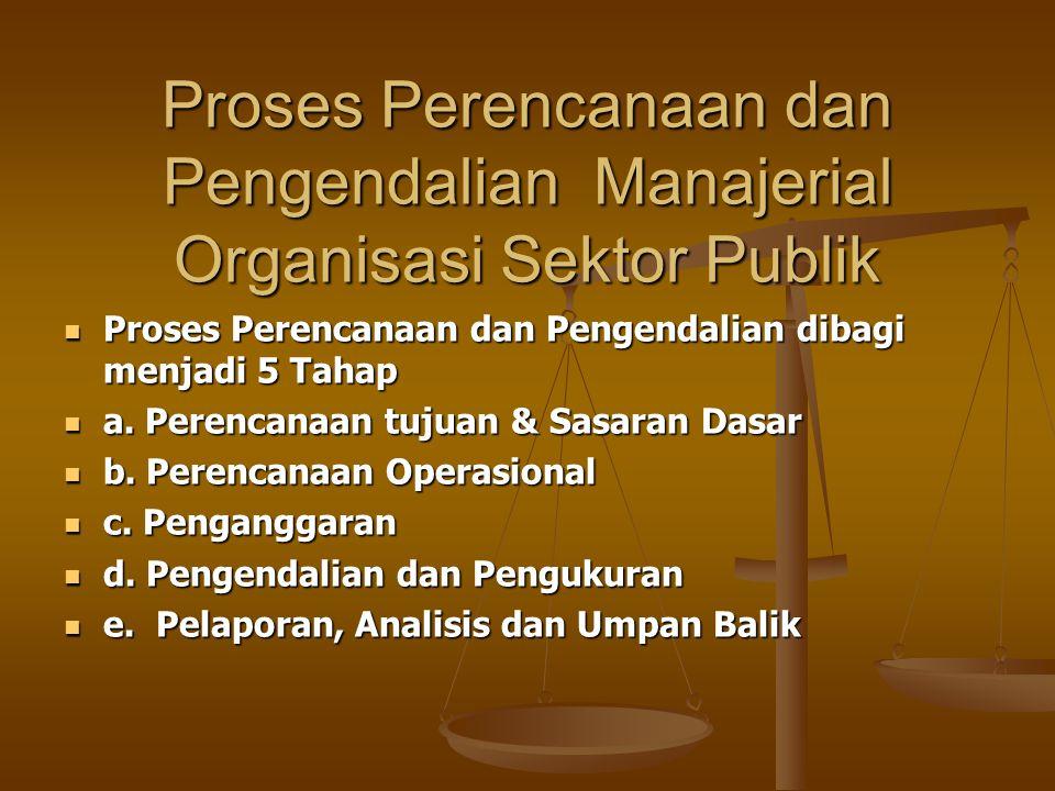 Proses Perencanaan dan Pengendalian Manajerial Organisasi Sektor Publik Proses Perencanaan dan Pengendalian dibagi menjadi 5 Tahap Proses Perencanaan