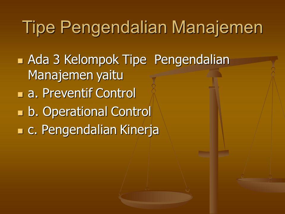 Tipe Pengendalian Manajemen Ada 3 Kelompok Tipe Pengendalian Manajemen yaitu Ada 3 Kelompok Tipe Pengendalian Manajemen yaitu a. Preventif Control a.