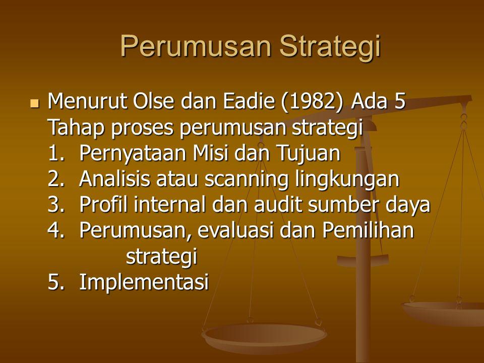 Perumusan Strategi Perumusan Strategi Menurut Olse dan Eadie (1982) Ada 5 Tahap proses perumusan strategi 1. Pernyataan Misi dan Tujuan 2. Analisis at