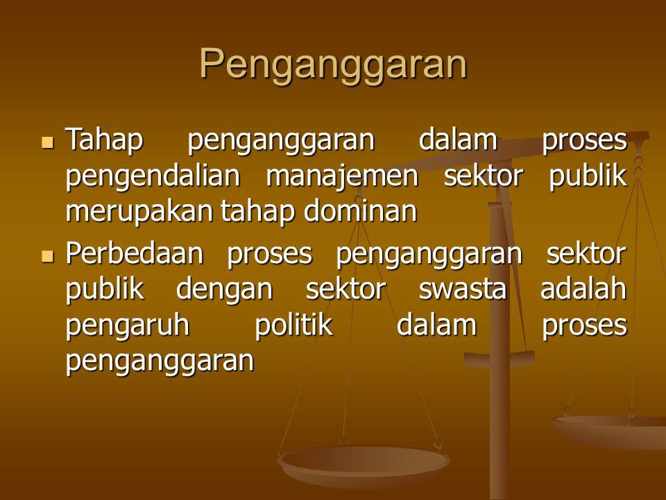 Penganggaran Tahap penganggaran dalam proses pengendalian manajemen sektor publik merupakan tahap dominan Tahap penganggaran dalam proses pengendalian
