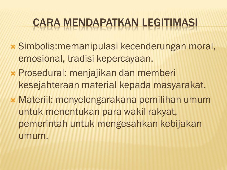  Simbolis:memanipulasi kecenderungan moral, emosional, tradisi kepercayaan.