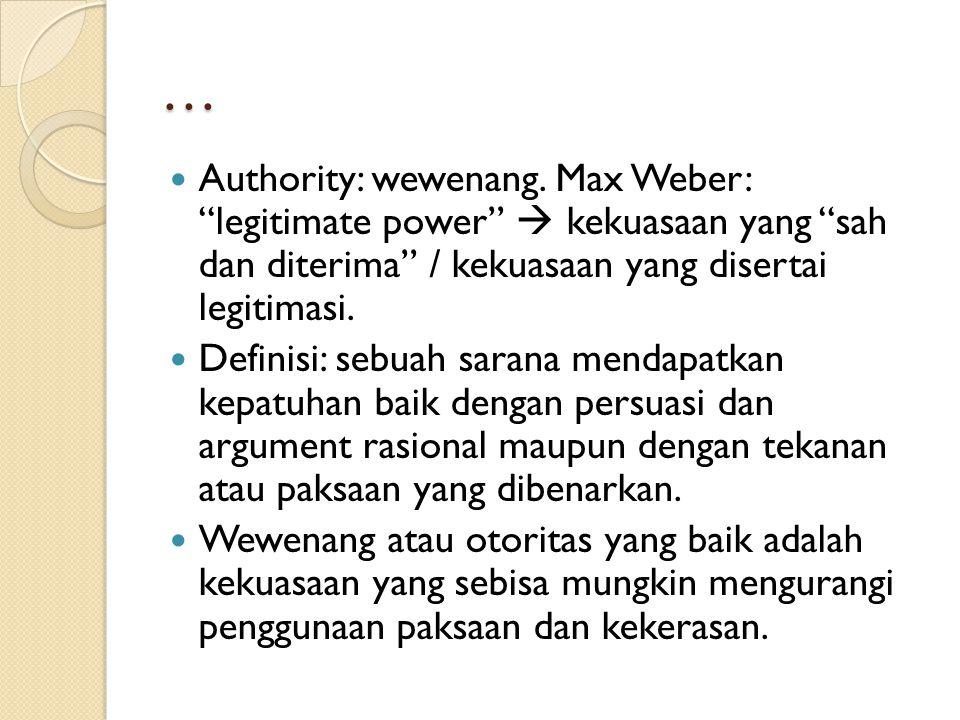 Legitimacy Legitimasi: keberhakan / keabsahan (rightfulness).