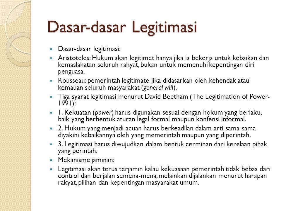 Dasar-dasar Legitimasi Dasar-dasar legitimasi: Aristoteles: Hukum akan legitimet hanya jika ia bekerja untuk kebaikan dan kemaslahatan seluruh rakyat,