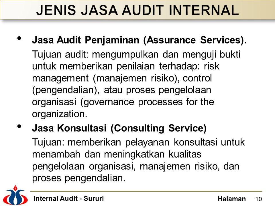 Internal Audit - Sururi Halaman Jasa Audit Penjaminan (Assurance Services). Tujuan audit: mengumpulkan dan menguji bukti untuk memberikan penilaian te