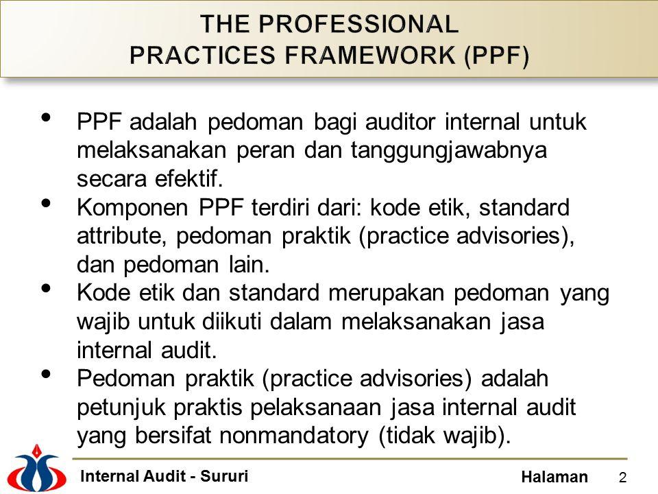 Internal Audit - Sururi Halaman PPF adalah pedoman bagi auditor internal untuk melaksanakan peran dan tanggungjawabnya secara efektif. Komponen PPF te