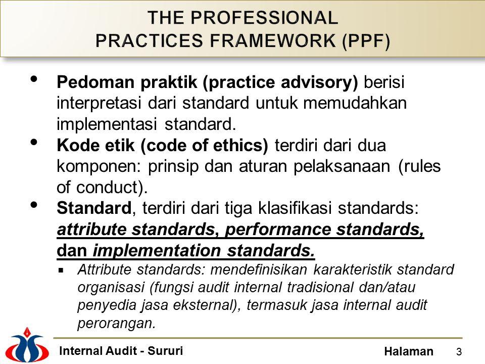 Internal Audit - Sururi Halaman Pedoman praktik (practice advisory) berisi interpretasi dari standard untuk memudahkan implementasi standard. Kode eti